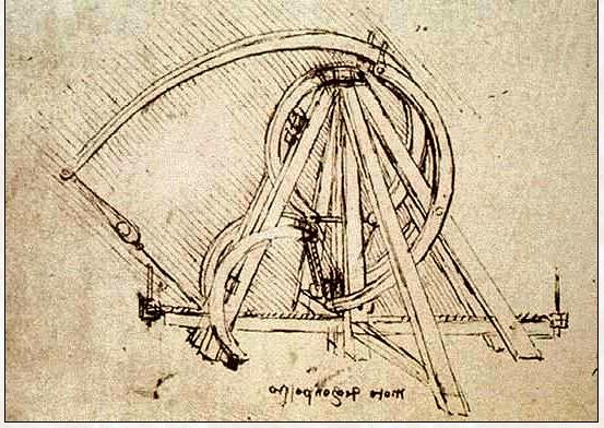 A Leonardo catapult, circa 1500